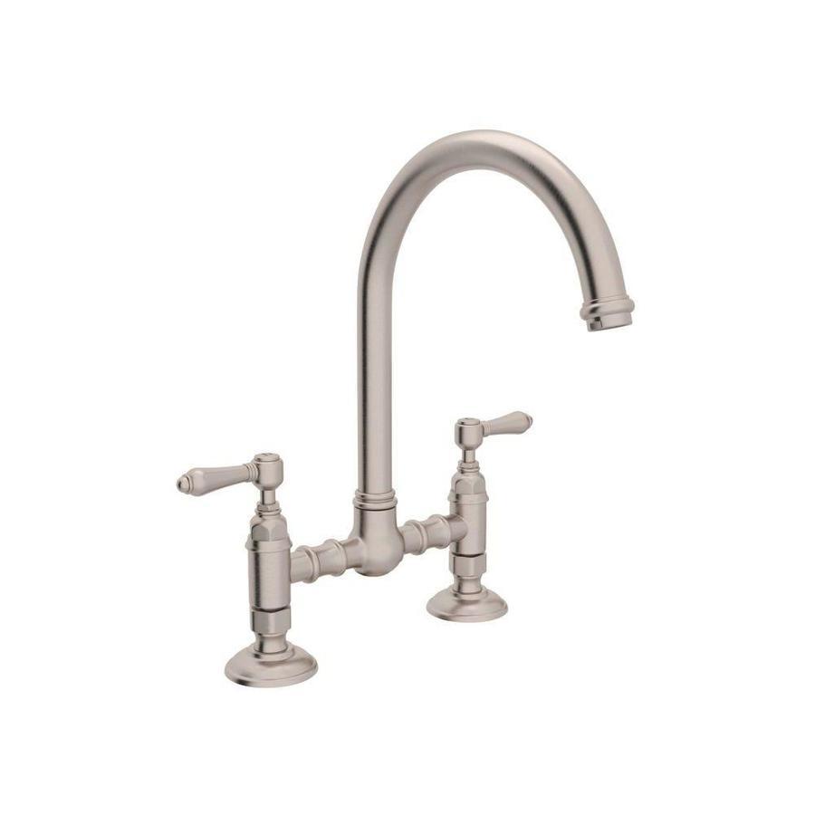 shop rohl country kitchen satin nickel 2 handle deck mount kohler parq deck mount kitchen bridge faucet Replacing Kitchen Faucet