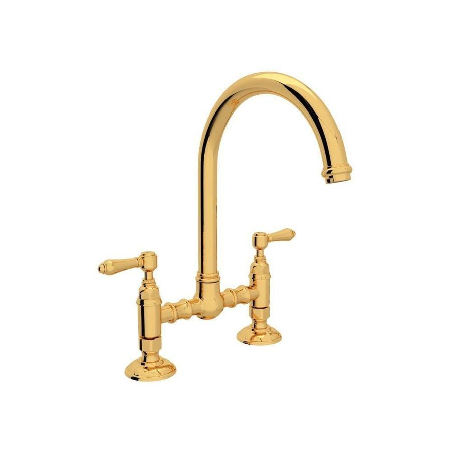 Rohl Country Kitchen Inca Brass 2 Handle Deck Mount Bridge Kitchen Faucet