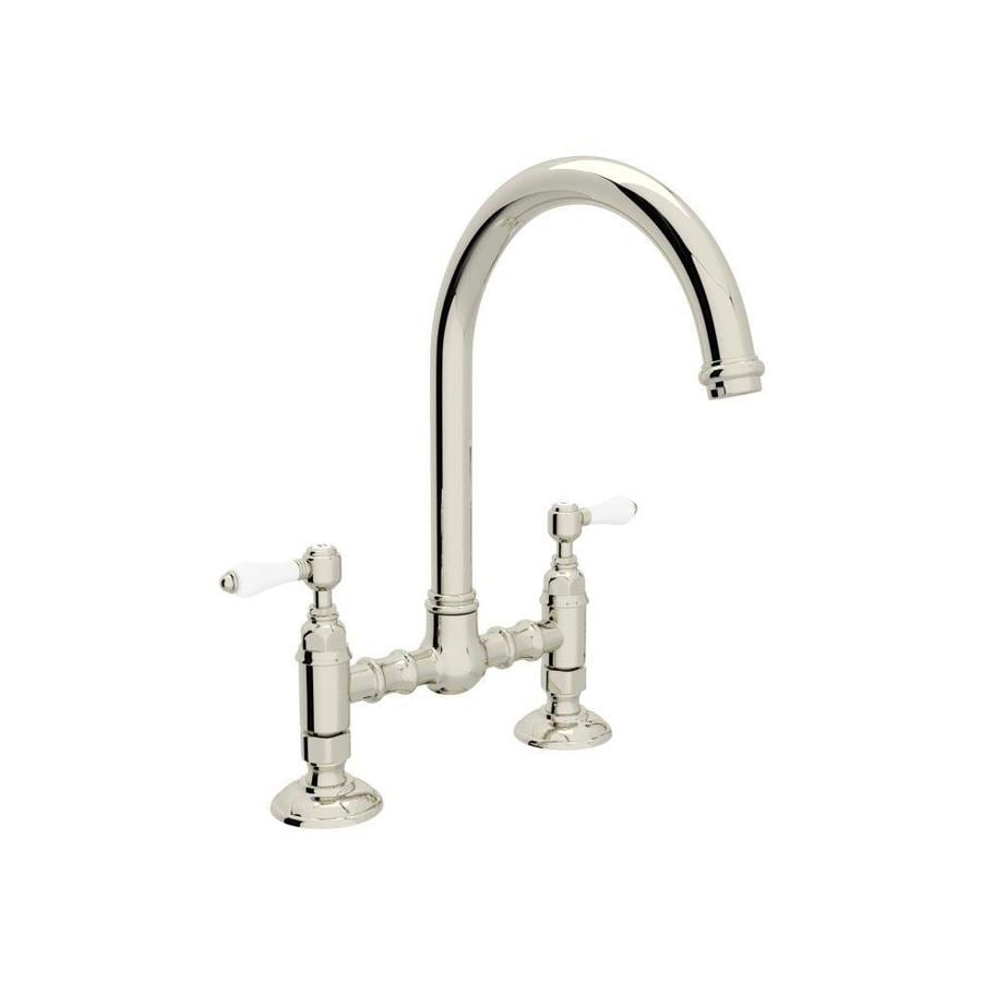 Rohl Country Kitchen Polished Nickel 2-Handle Deck Mount Bridge Kitchen Faucet