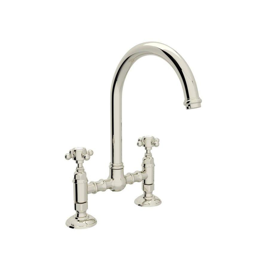 rohl country kitchen bridge faucet shop rohl country kitchen polished nickel 2 handle deck 25593