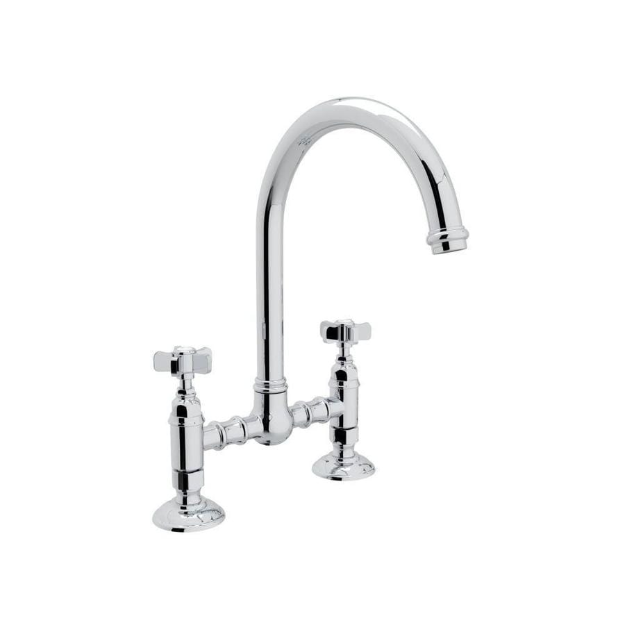 rohl country kitchen bridge faucet shop rohl country kitchen polished chrome 2 handle deck 25593
