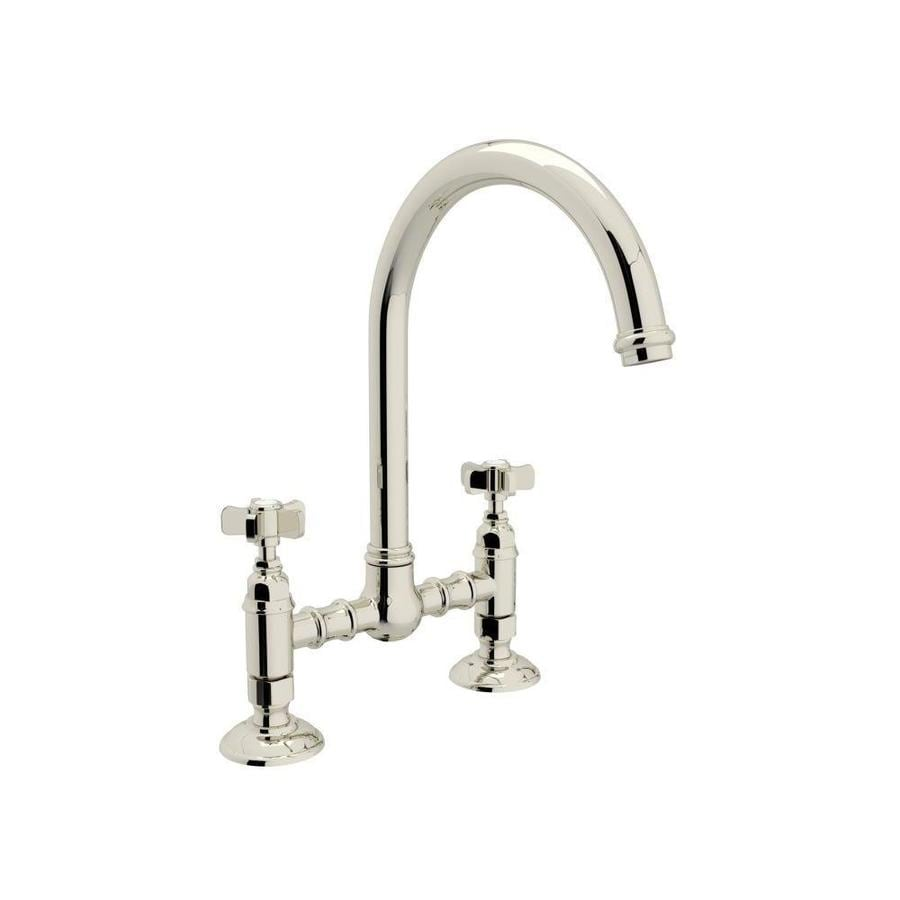 Rohl Country Kitchen Polished Nickel 2 Handle Deck Mount Bridge Kitchen  Faucet