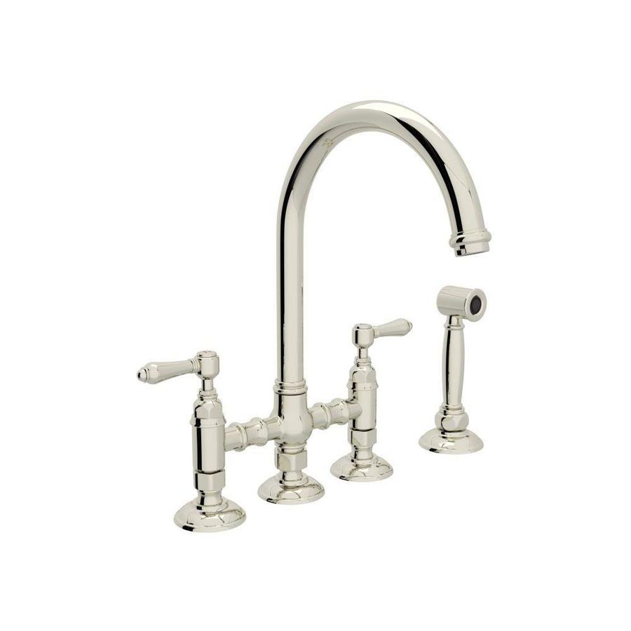 rohl country kitchen polished nickel 2 handle deck mount bridge kitchen faucet - Rohl Kitchen Faucets