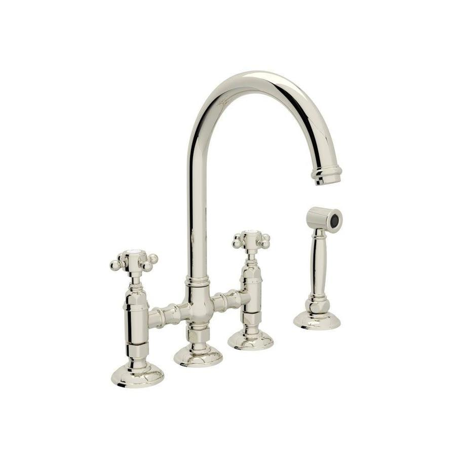 Rohl Country Kitchen Polished Nickel 2 Handle Deck Mount Bridge Faucet