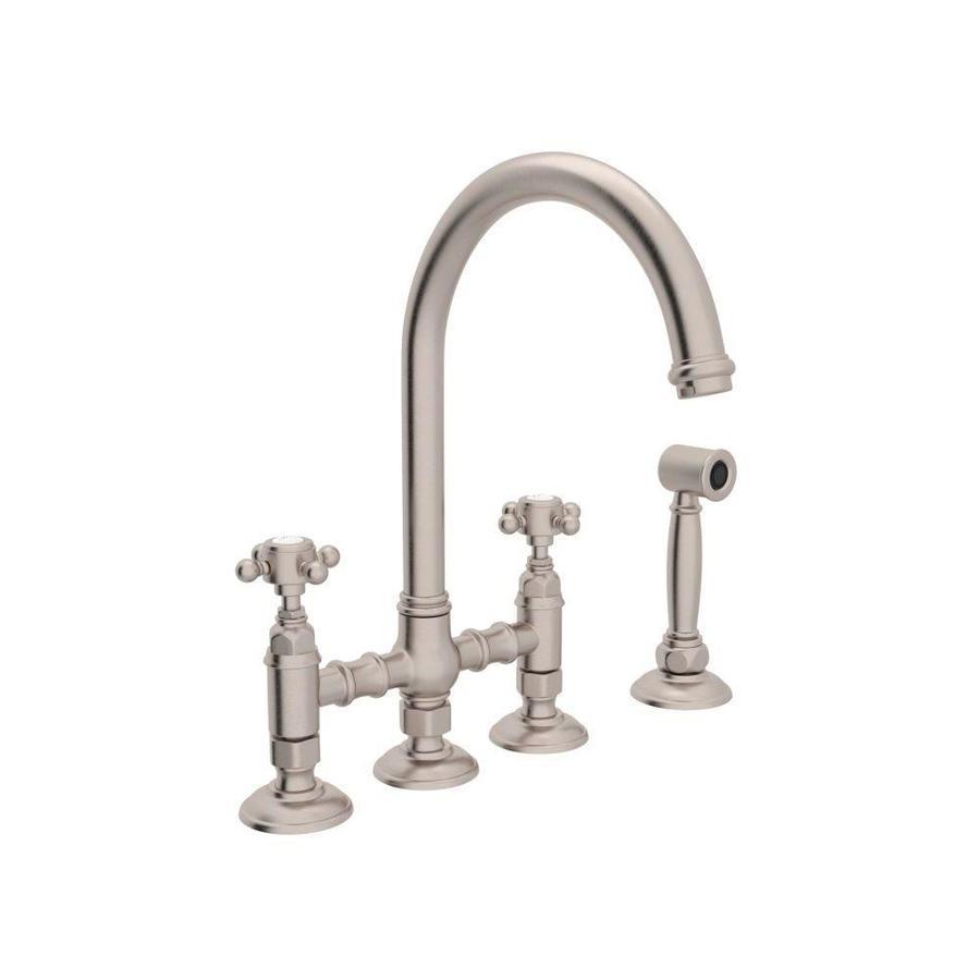 shop rohl country kitchen satin nickel 2 handle deck mount Deck Mount Kitchen Faucet Repair Pump Handle Kitchen Faucet