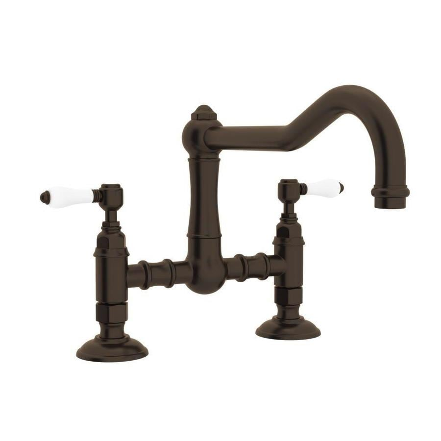 Shop Rohl Country Kitchen Tuscan Brass 2 Handle Deck Mount Bridge Kitchen Faucet At Lowes Com
