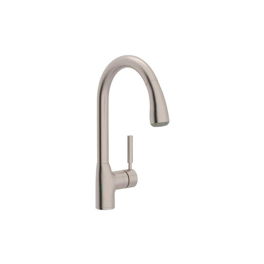 Rohl Satin Nickel 1-Handle Deck Mount Pull-down Kitchen Faucet