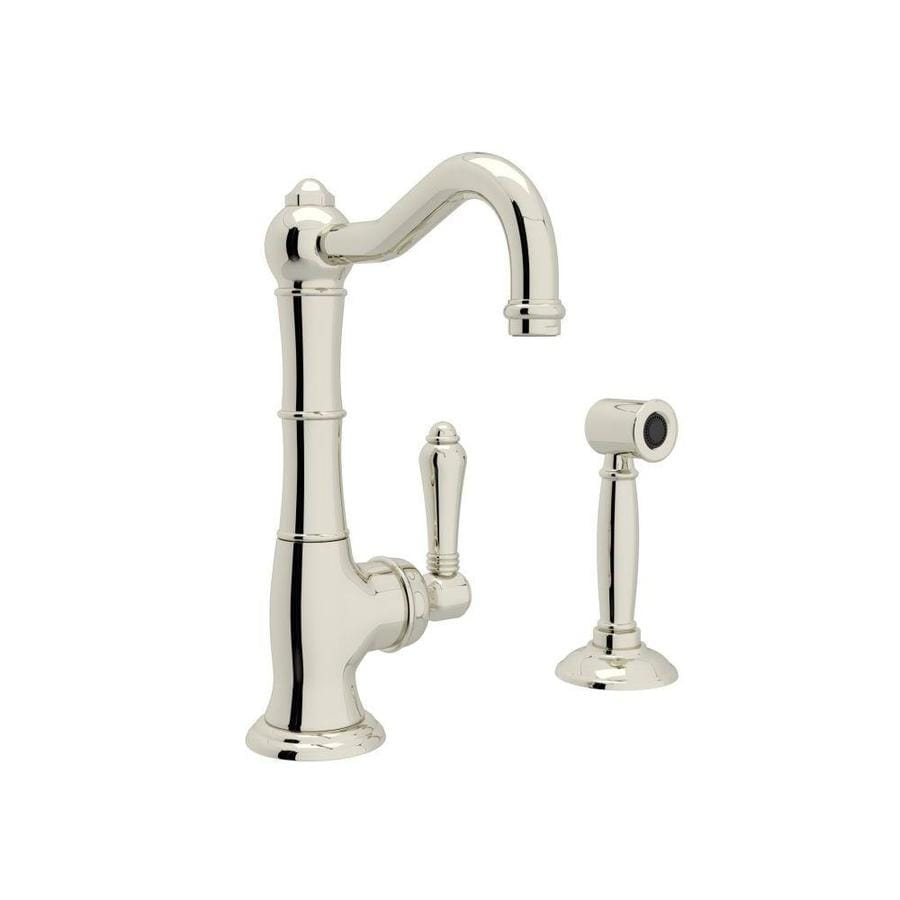 Rohl Country Kitchen Polished Nickel 1-Handle Deck Mount High-arc Kitchen Faucet