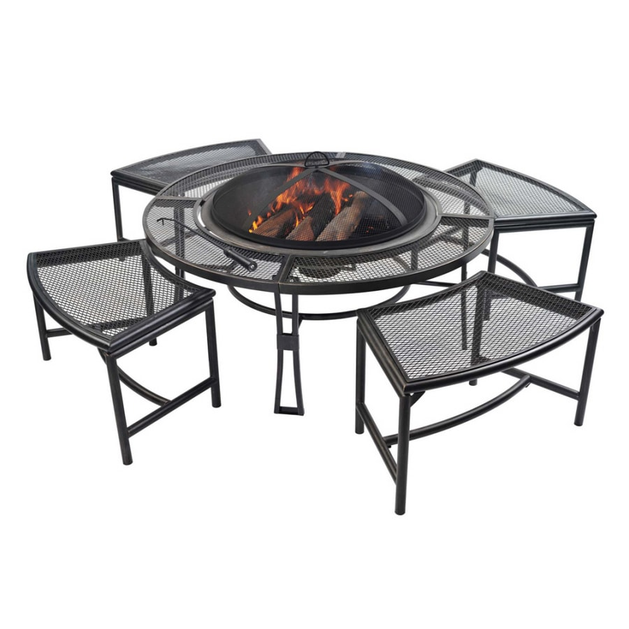 Shop Garden Treasures Steel Firepit With 4 Stools At Lowes Com