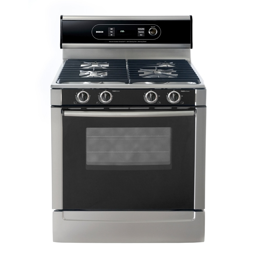 Bosch 30-in Freestanding 4.6-cu ft Self-Cleaning Convection Gas Range (Stainless)