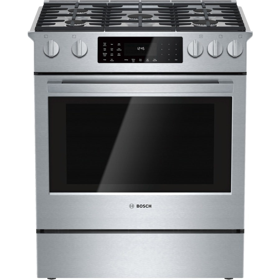 Bosch 800 Series 5-Burner Self-Cleaning Convection Single Oven Dual Fuel Range (Stainless Steel) (Common: 30-in; Actual 31.25-in)