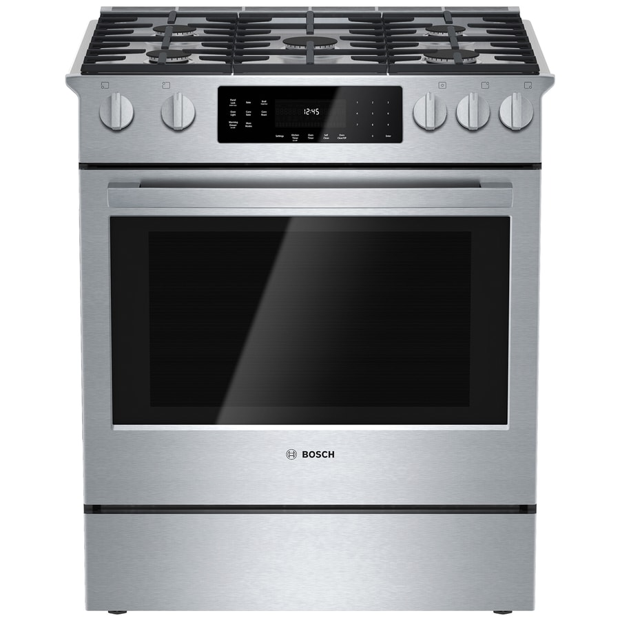 Bosch 800 Series 5-Burner 4.8-cu ft Self-cleaning Slide-In Convection Gas Range (Stainless steel) (Common: 30-in; Actual 31.25-in)