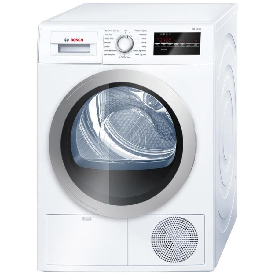 shop bosch 500 series 4 cu ft stackable electric dryer white silver energy star at. Black Bedroom Furniture Sets. Home Design Ideas