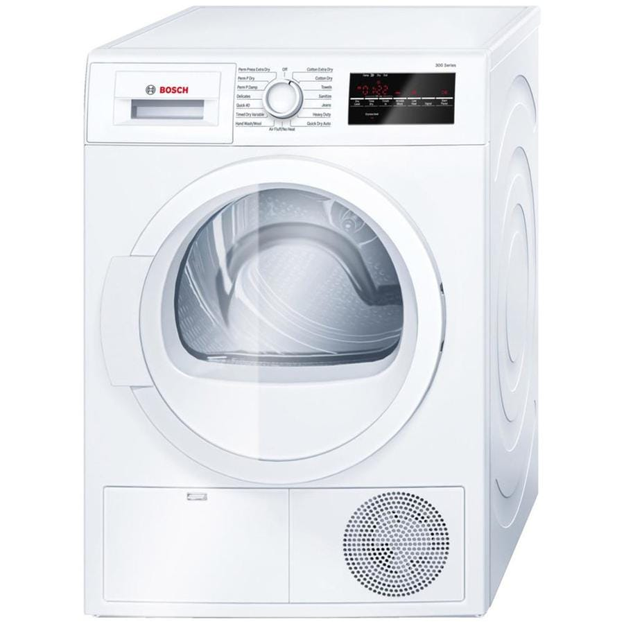 shop bosch 300 series 4 cu ft stackable ventless electric dryer white at. Black Bedroom Furniture Sets. Home Design Ideas