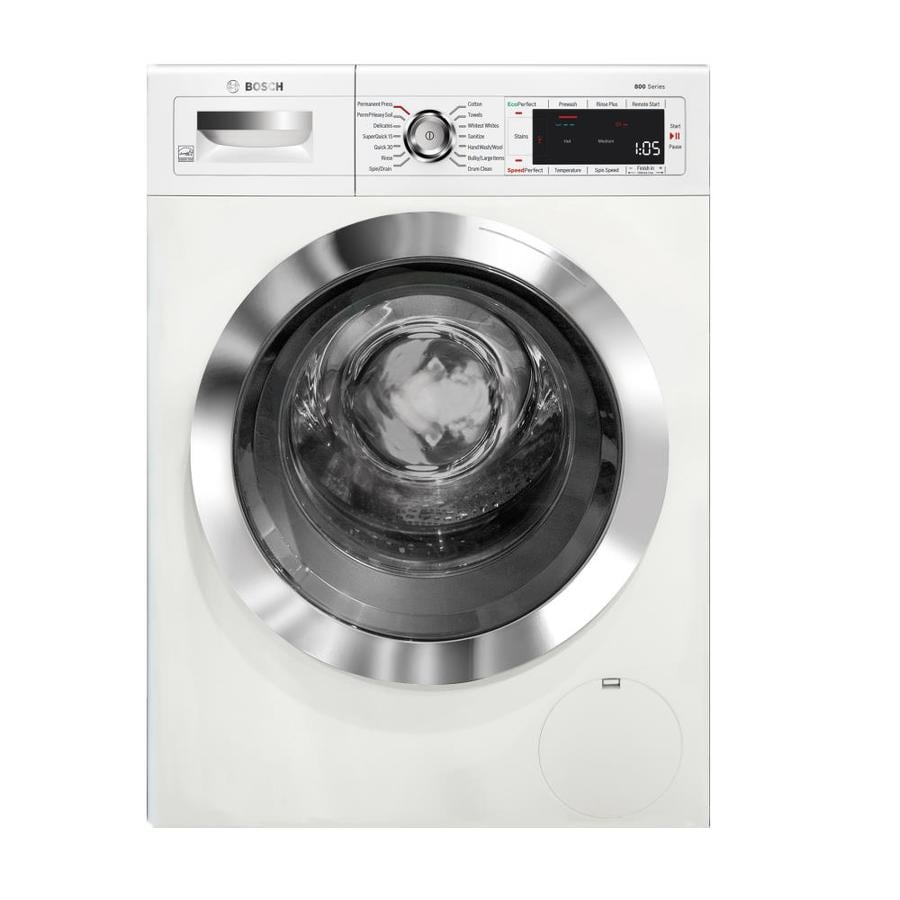 shop bosch home connect 800 series 2 2 cu ft high efficiency stackable front load washer white. Black Bedroom Furniture Sets. Home Design Ideas