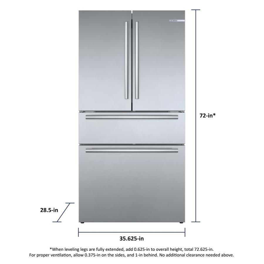 Bosch 800 21 Cu Ft 4 Door Counter Depth French Door Refrigerator With Ice Maker Fingerprint Resistant Stainless Steel Energy Star In The French Door Refrigerators Department At Lowes Com