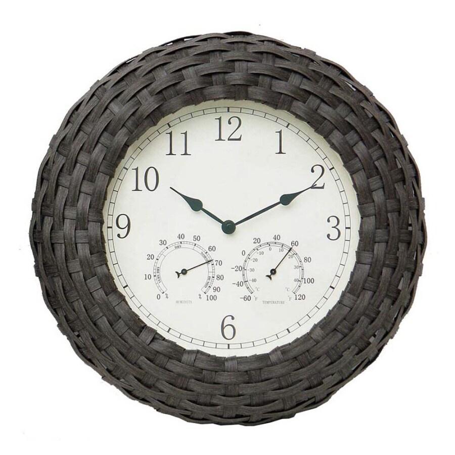 Garden Treasures Faux Wicker 3 -in-1 Clock/Thermometer/Hygrometer