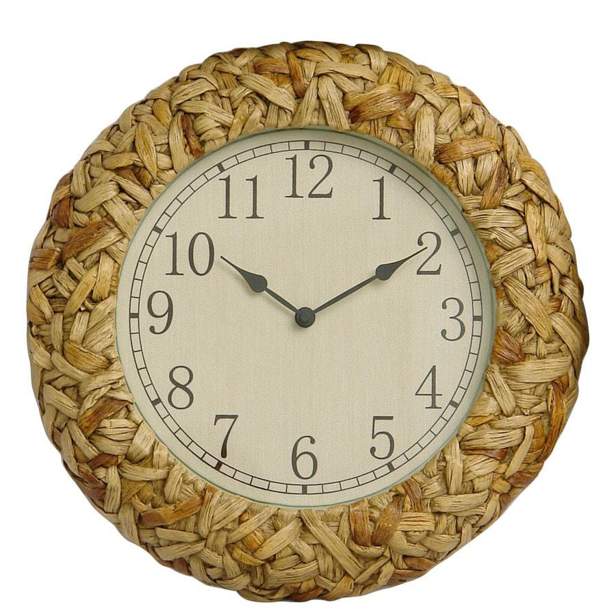 Garden Treasures 14.75-in Dia Resin Basket Weave Clock