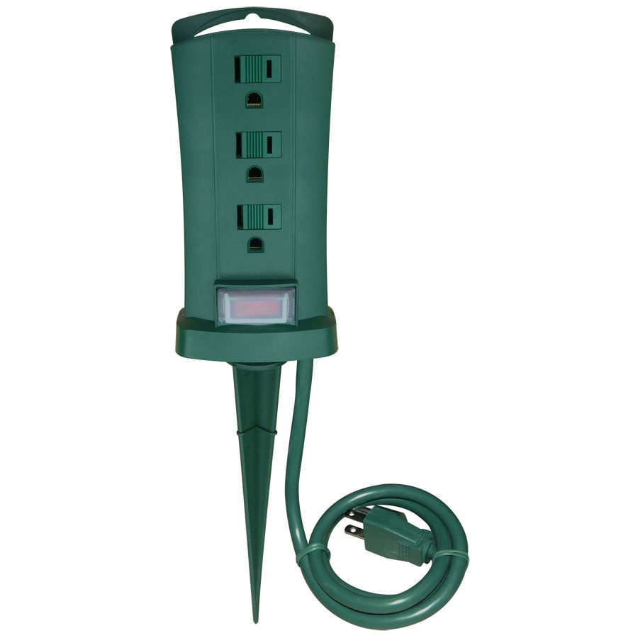 Utilitech 6-ft 13-Amp 3-Outlet 16-Gauge Green Outdoor Extension Cord with Built-In Circuit Breaker