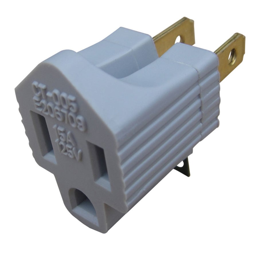 15-Amp 2-Wire to 3-Wire Single to Single Gray Basic Adapter