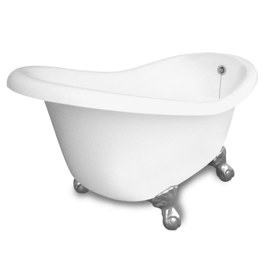 American Bath Factory Ascot 60-in White Acrylic Clawfoot Bathtub with Reversible Drain