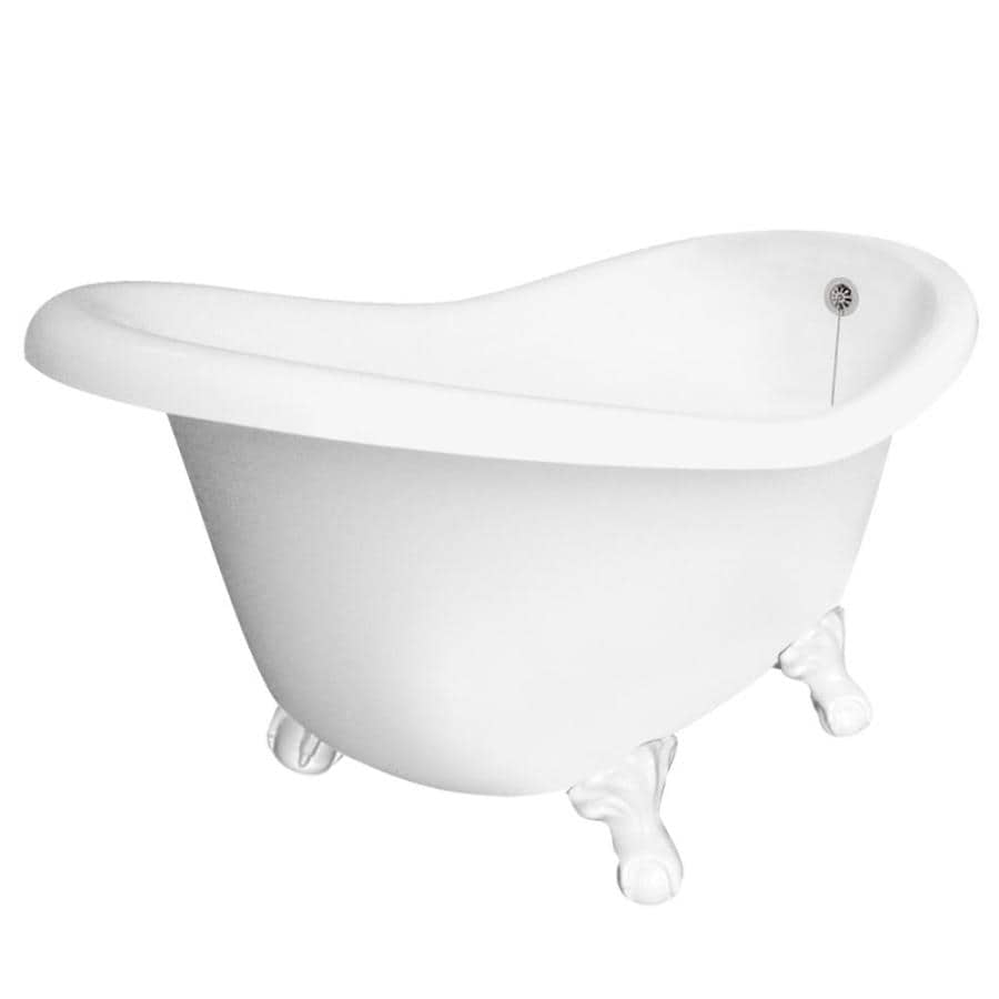 Genial American Bath Factory Ascot 60 In White Acrylic Clawfoot Bathtub With  Reversible Drain