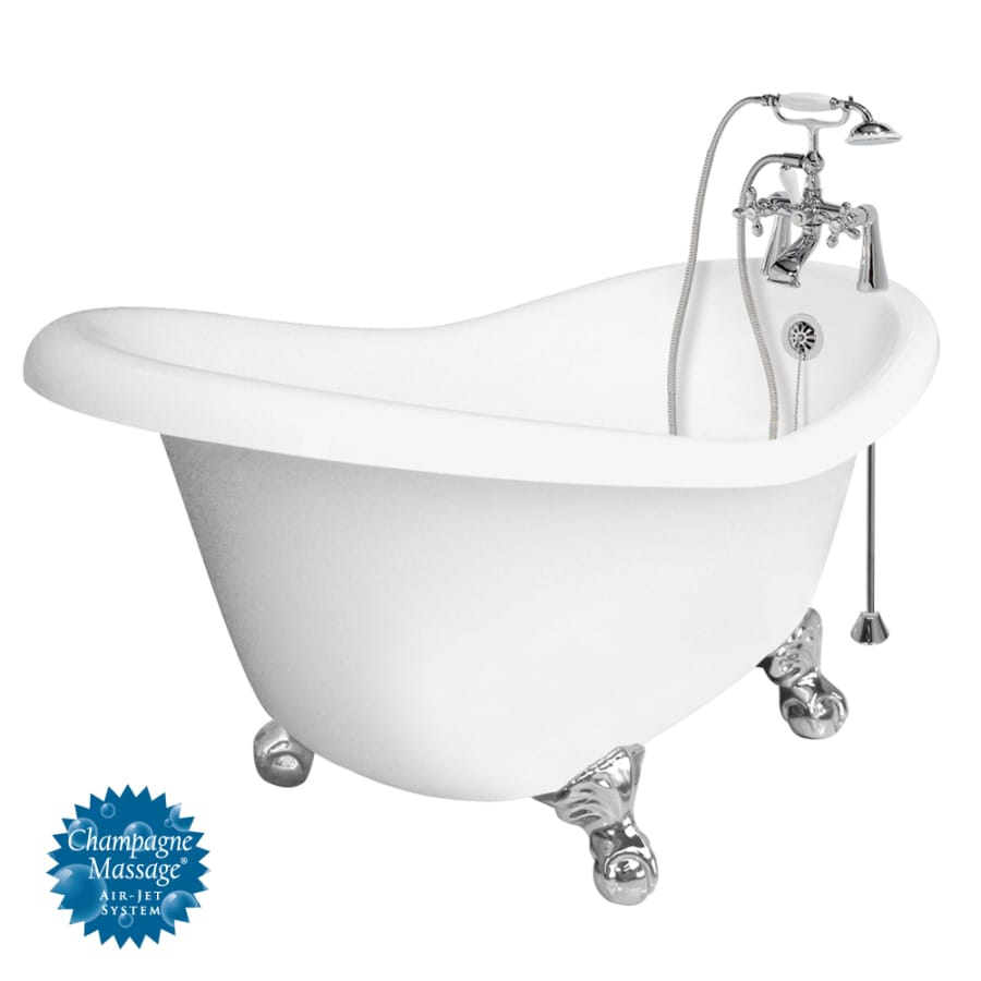 American Bath Factory Ascot 60-in White Acrylic Clawfoot Air Bath with Reversible Drain