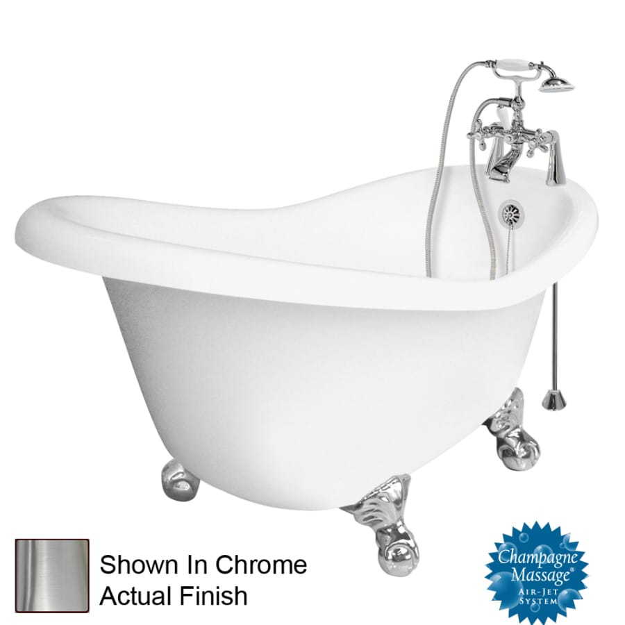 American Bath Factory Ascot 60-in White Acrylic Clawfoot Air Bath with Right-Hand Drain