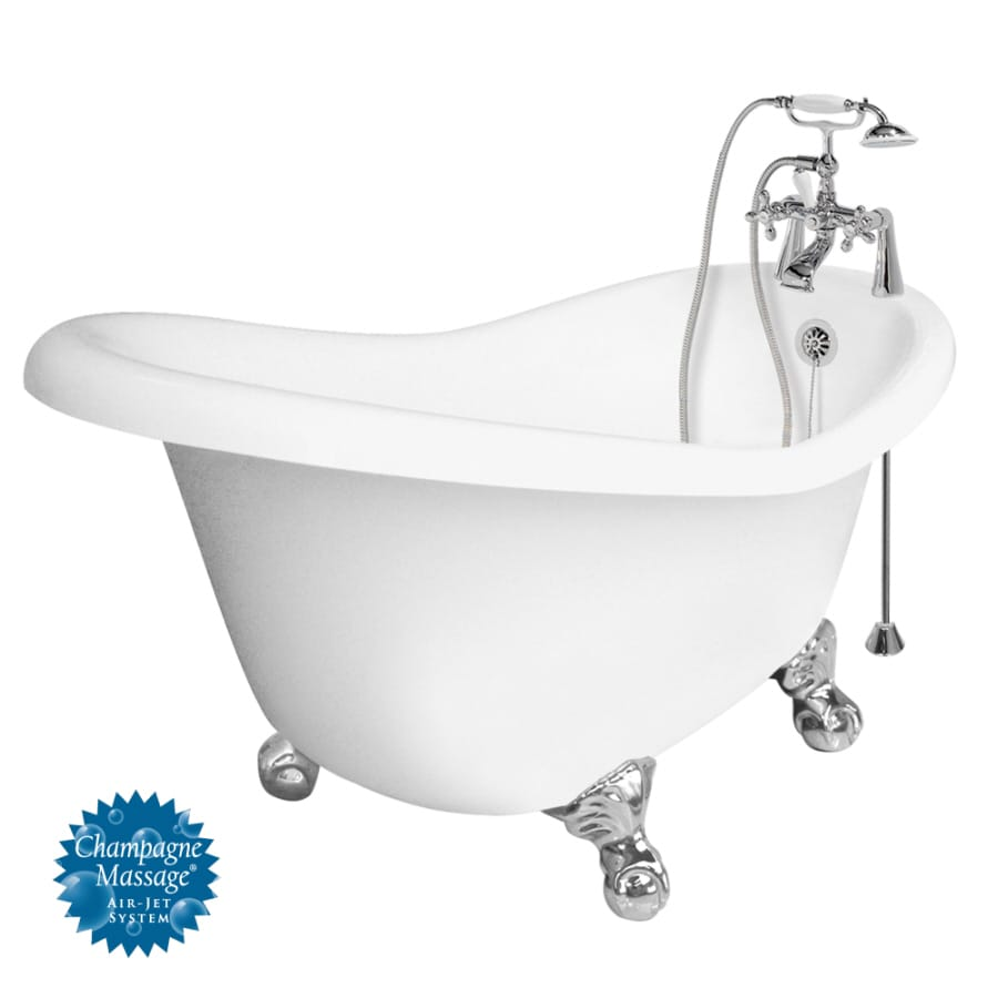 American Bath Factory Marilyn 67-in White Acrylic Clawfoot Air Bath with Reversible Drain