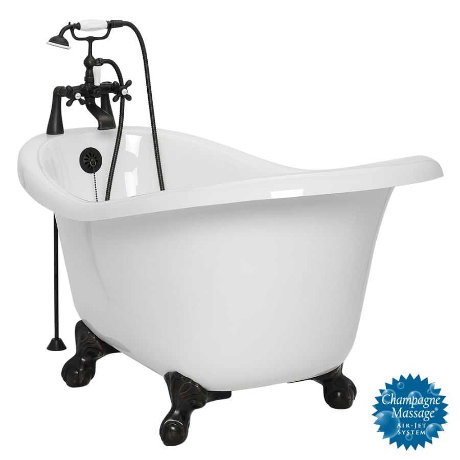 Shop american bath factory marilyn 67 in white acrylic for Bathroom with clawfoot tub