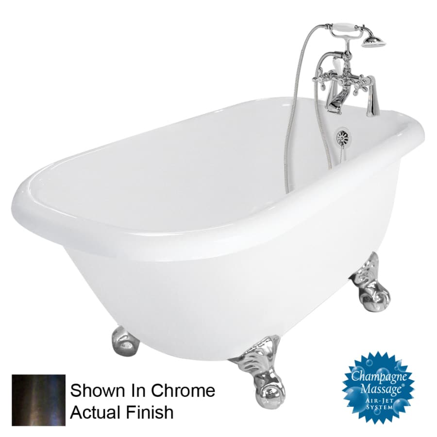 American Bath Factory Jester 54-in White Acrylic Clawfoot Air Bath with Right-Hand Drain