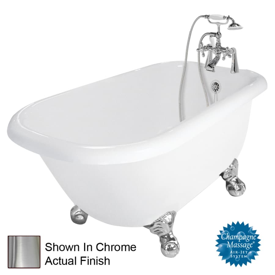 American Bath Factory Jester 54-in White Acrylic Clawfoot Air Bath with Left-Hand Drain