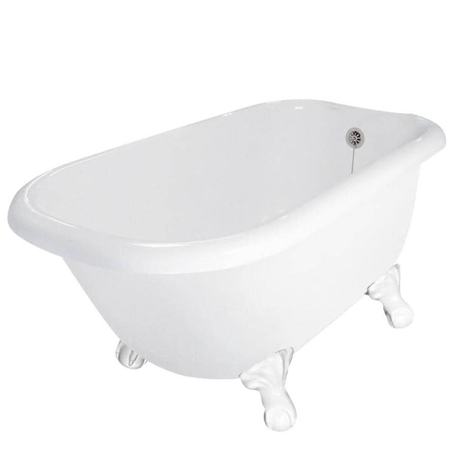 Shop American Bath Factory Trinity Acrylic Round Clawfoot Bathtub With Revers
