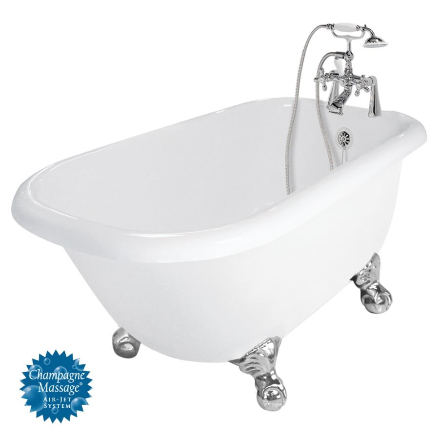 American Bath Factory Trinity 60-in White Acrylic Clawfoot Air Bath with Reversible Drain