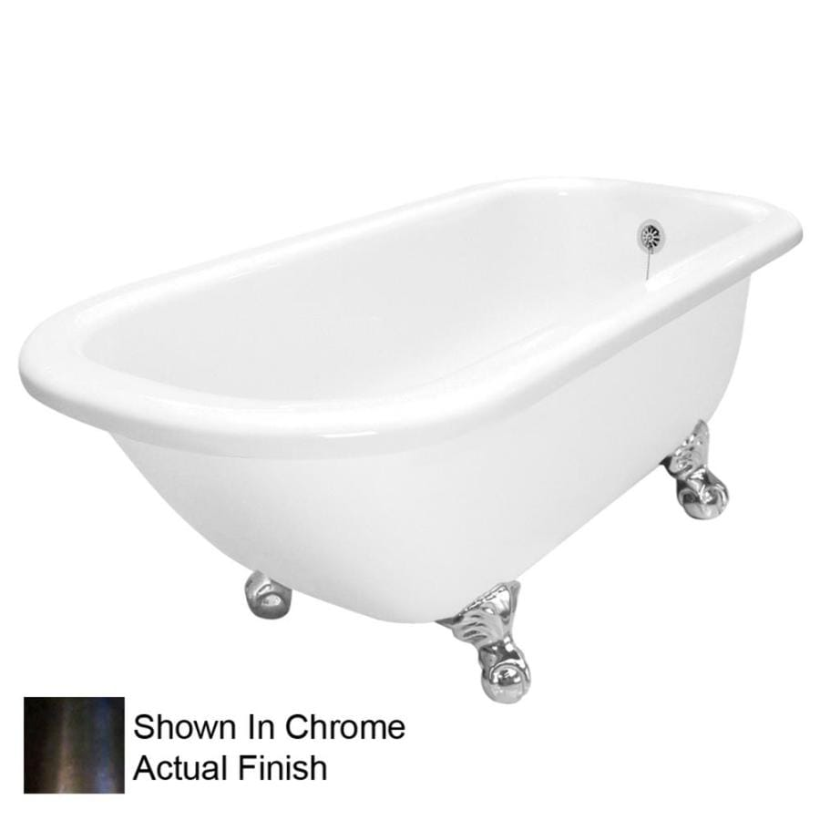 American Bath Factory Maverick 67-in White Acrylic Clawfoot Bathtub with Reversible Drain