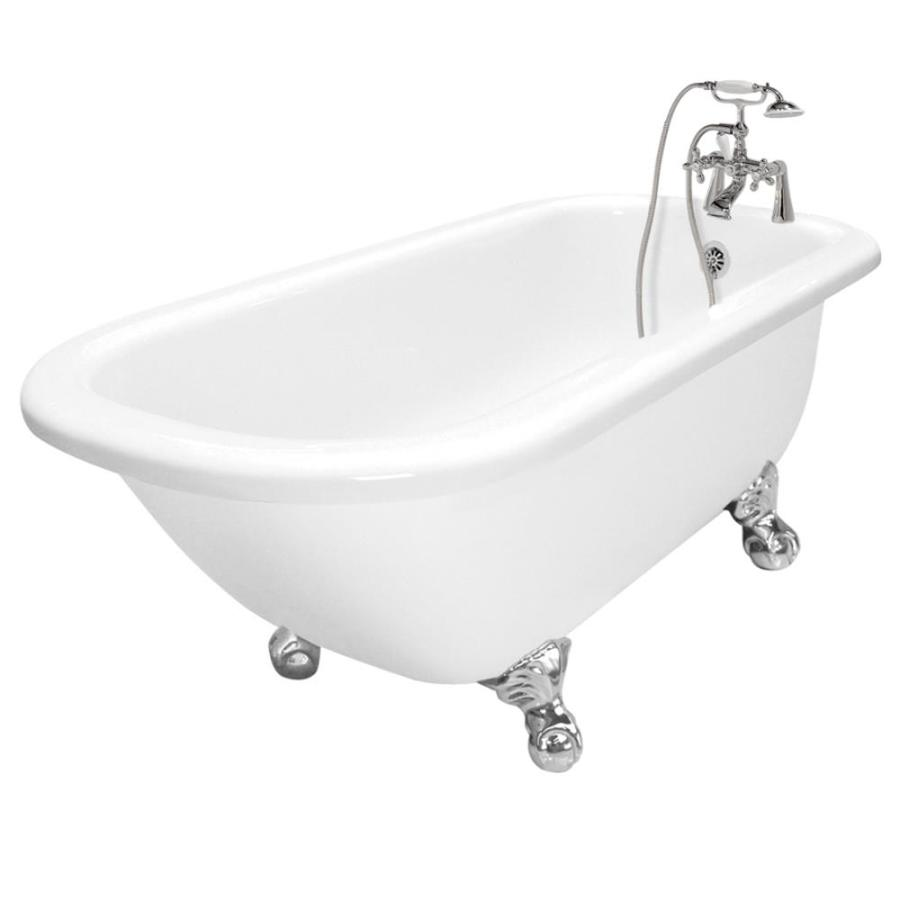American Bath Factory Maverick Acrylic Round Clawfoot Bathtub with Reversible Drain (Common: 30-in x 67-in; Actual: 23-in x 30-in x 67-in)