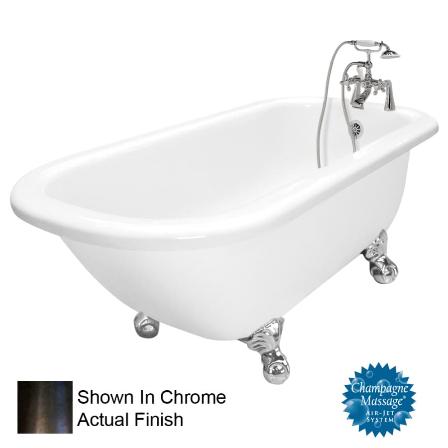American Bath Factory 67-in White Acrylic Clawfoot Air Bath with Right-Hand Drain