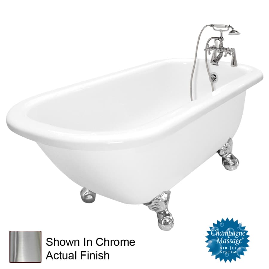 American Bath Factory 67-in White Acrylic Clawfoot Air Bath with Left-Hand Drain