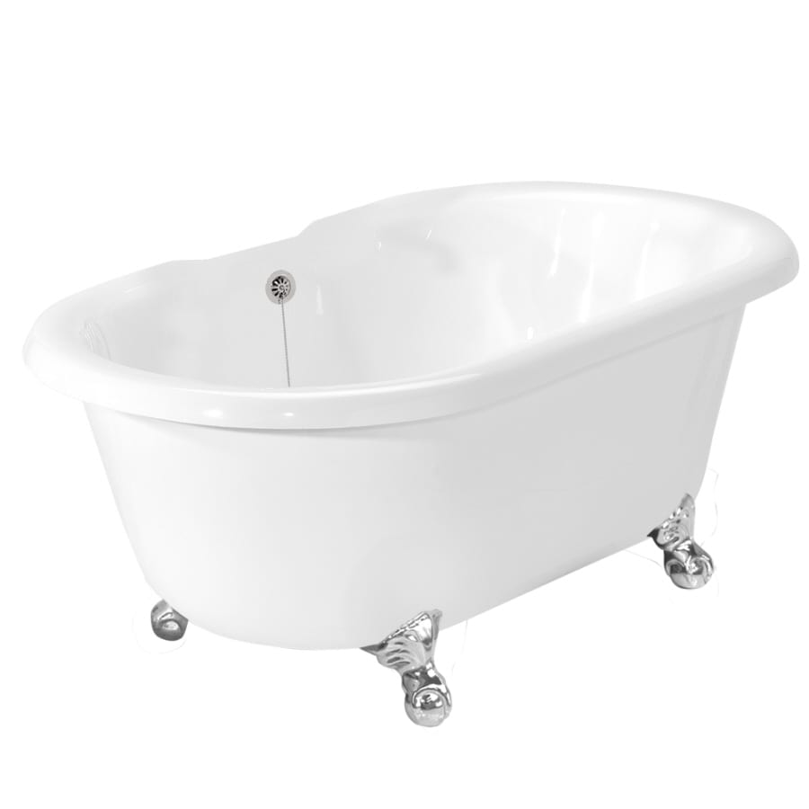 shop american bath factory melinda 60 in white acrylic clawfoot bathtub with back center drain. Black Bedroom Furniture Sets. Home Design Ideas