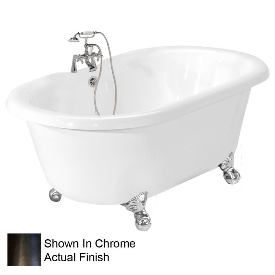 American Bath Factory Melinda Acrylic Round Clawfoot Bathtub with Center Drain (Common: 32-in x 60-in; Actual: 24-in x 32-in x 60-in)