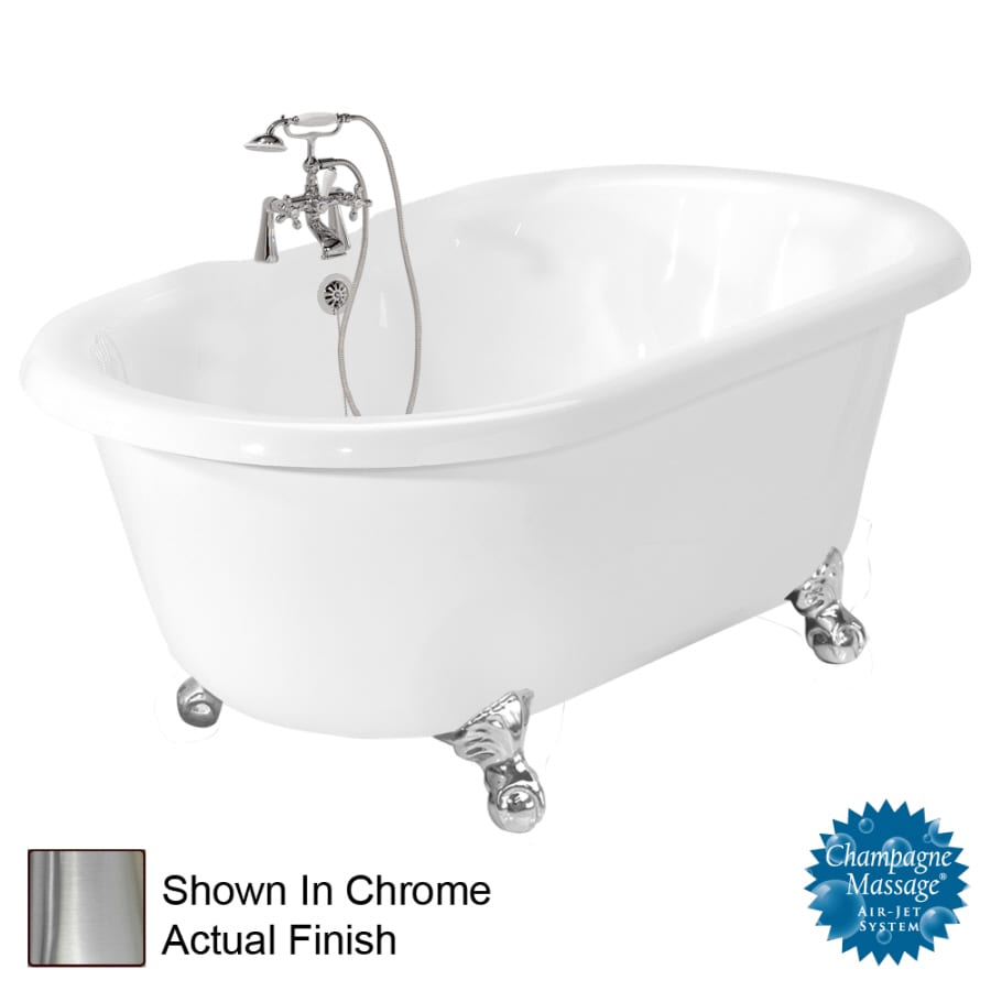 American Bath Factory Melinda 60-in White Acrylic Clawfoot Air Bath with Back Center Drain