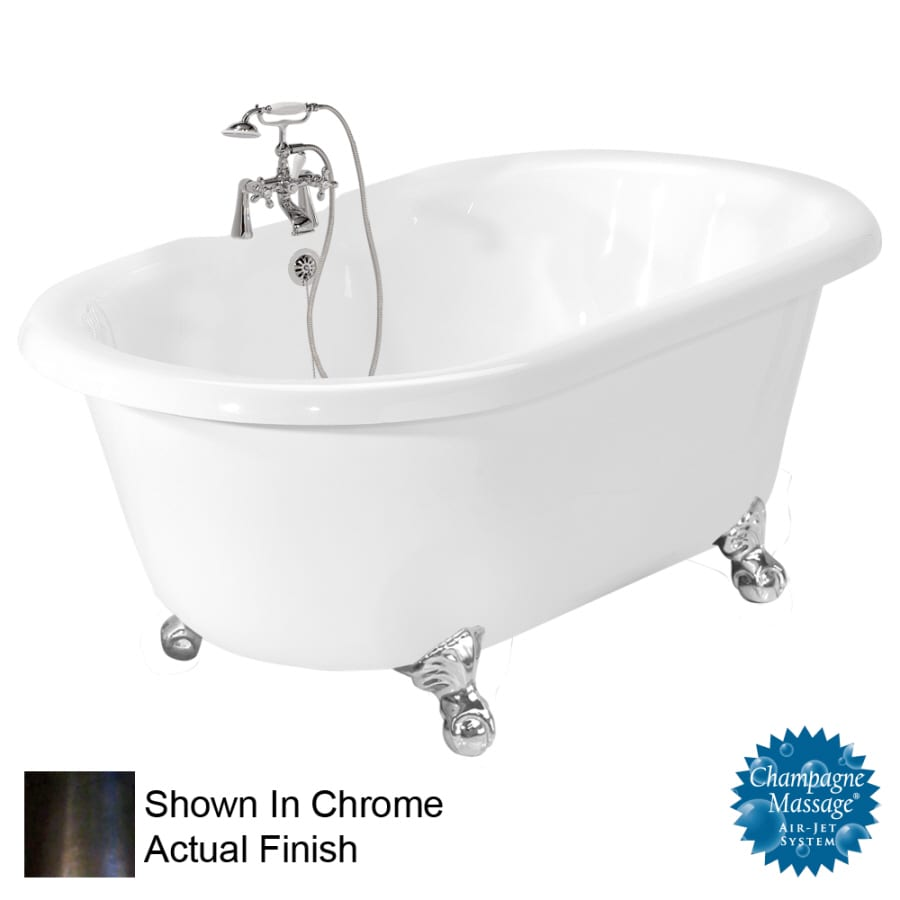 American Bath Factory Celine 70-in White Acrylic Clawfoot Air Bath with Center Drain