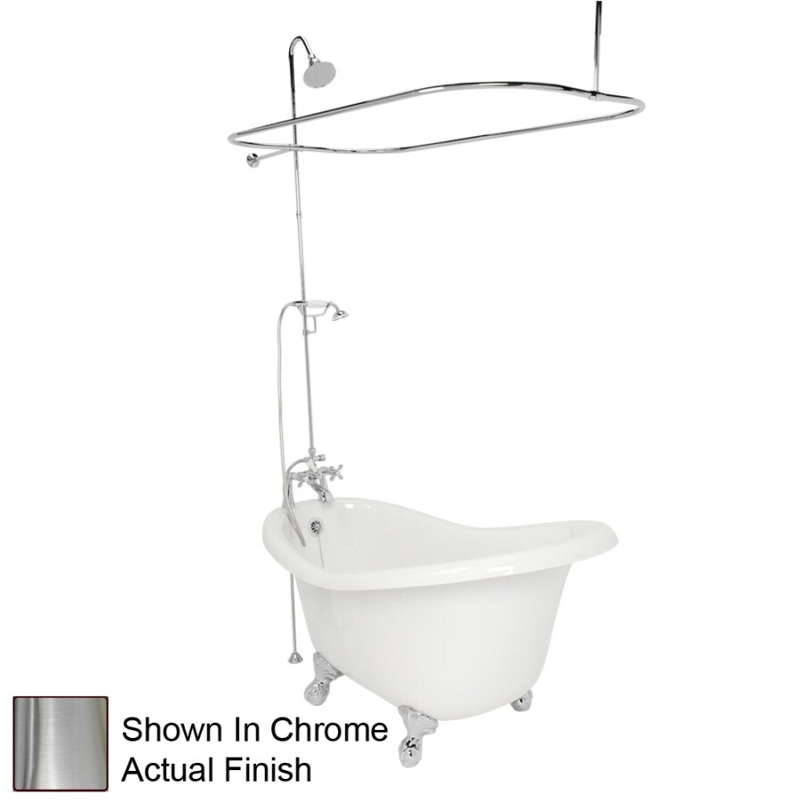 American Bath Factory Marilyn Acrylic Round Clawfoot Bathtub with Reversible Drain (Common: 32-in x 67-in; Actual: 30-in x 32-in x 67-in)