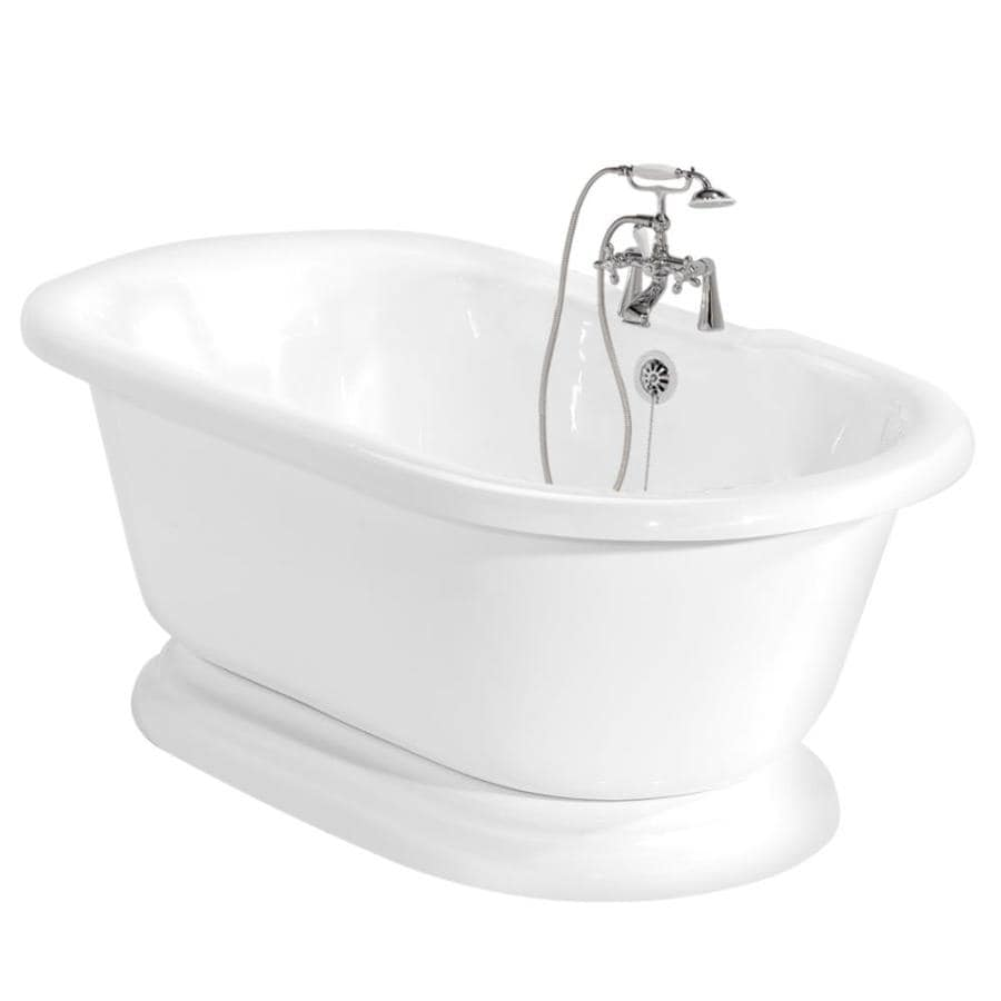 American Bath Factory Nobb Hill 60-in White Acrylic Freestanding Bathtub with Center Drain