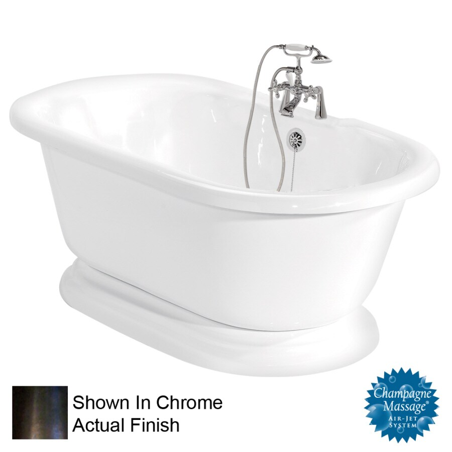 American Bath Factory Nobb Hill 60-in White Acrylic Pedestal Air Bath with Back Center Drain