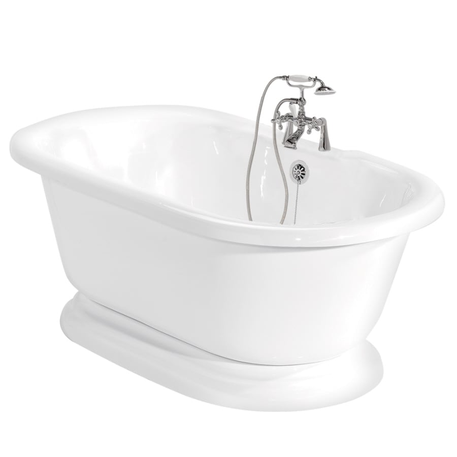 shop american bath factory beacon hill 70 in white acrylic pedestal bathtub with back center. Black Bedroom Furniture Sets. Home Design Ideas