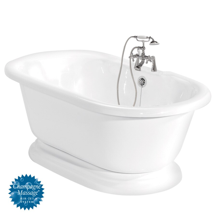 American Bath Factory Beacon Hill 70-in White Acrylic Pedestal Air Bath with Back Center Drain