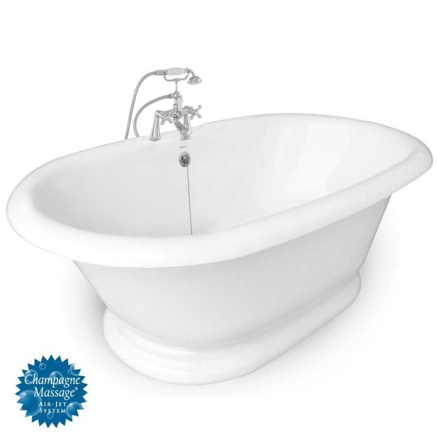 American Bath Factory Heritage 72-in L x 42-in W x 26.5-in H White Acrylic 2-Person Round Pedestal Air Bath