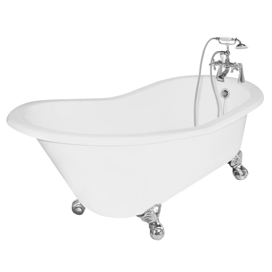 American Bath Factory Wintess Cast Iron Round Clawfoot Bathtub with Reversible Drain (Common: 31-in x 62-in; Actual: 31-in x 31-in x 61.5-in)