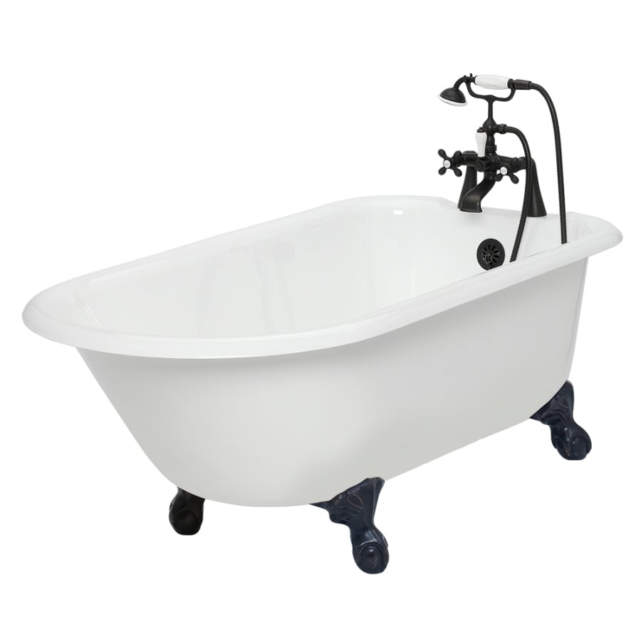 american bath factory windsor 61in white cast iron clawfoot bathtub with reversible drain
